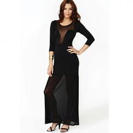 Hottest Features Sheer Mesh Plunging Neckline Maxi Dress Black