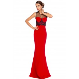 Mesh Splice Beaded Patchwork Red Long Evening Dress
