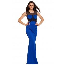 Mesh Splice Beaded Patchwork Blue Long Evening Dress
