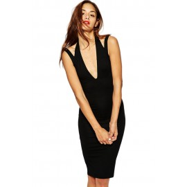 Black Midi Bodycon Dress with Plunge Neck