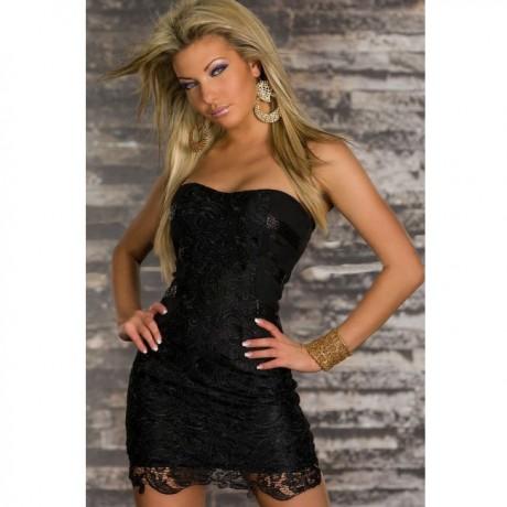 Fashion Fads Element Embroidered Sexy Mini Dress Black