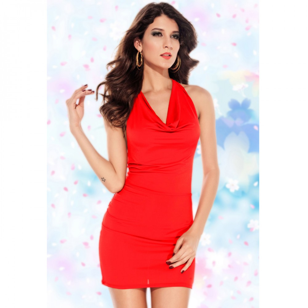 Cowl Neck T-Style Mini Dress Red