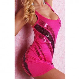 Palletten Cocktail With Shiny Sequins Mini Dress Pink