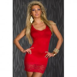 Lace Tank Top Mini bodycon Dress Red