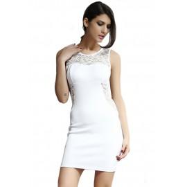 Patchwork Glam Lace Mini Dress White