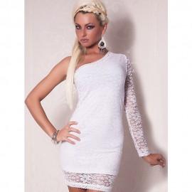 Fashion One Sleeve Mini Dress White
