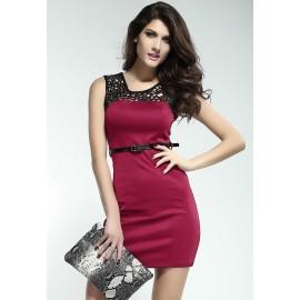 Lacy Neck Short Dress Claret