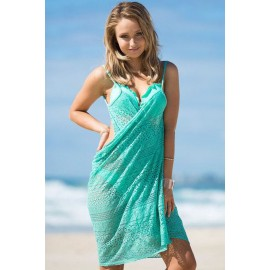 Cute Mint Floral Lace Wrapped Beach Bikini Cover-Up Green