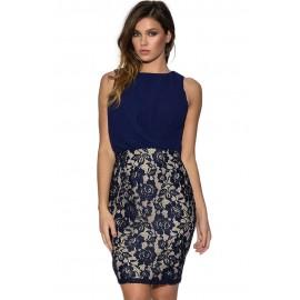 Mistress Chiffon and Lace Draped Front Blue Mini Dress
