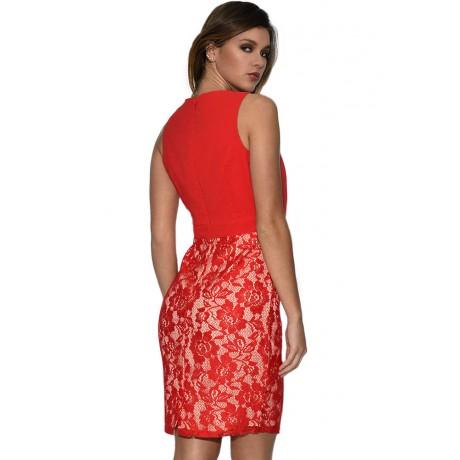 Chiffon Lace Draped Red Mini Dress