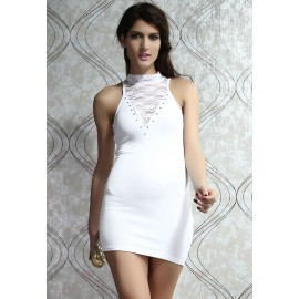 Lace Detail Bodycon Dress White