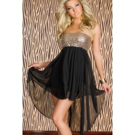 Modern Sequined High Low Evening Dress Gold Black