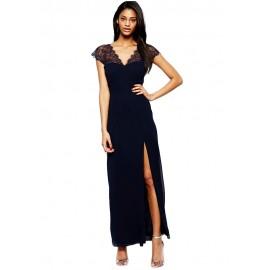 Navy Lace Splicing Chiffon Evening Dress