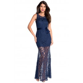Navy Lace Satin Patchwork Party Maxi Dress