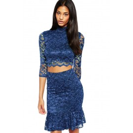 Navy Night Club Lace Soft Lining Midi Skirt Set