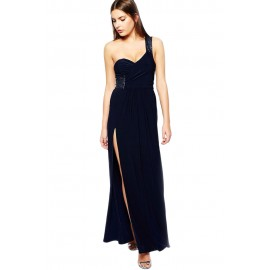 Navy Sequin Embellished Shoulder Side Night Club Maxi Dress