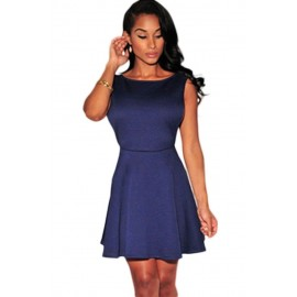 Navy Blue Textured Open Sides Skater Mini Dress