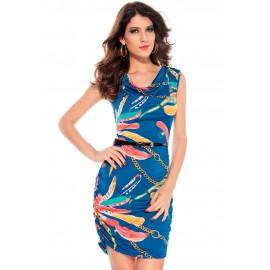 Chains Cowl Neck Mini Dress Blue