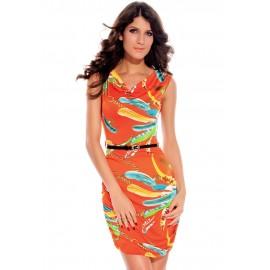 Chains Cowl Neck Mini Dress Orange
