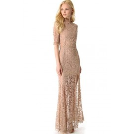 Nude Pink High Slit V Back Lace Over Maxi Party Dress