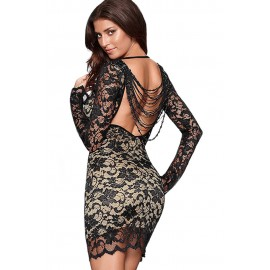 Lace Over a Nude Illusion Thrilling Beaded Bodycon Dress