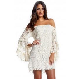 White Lace Off Shoulder Mini Dress