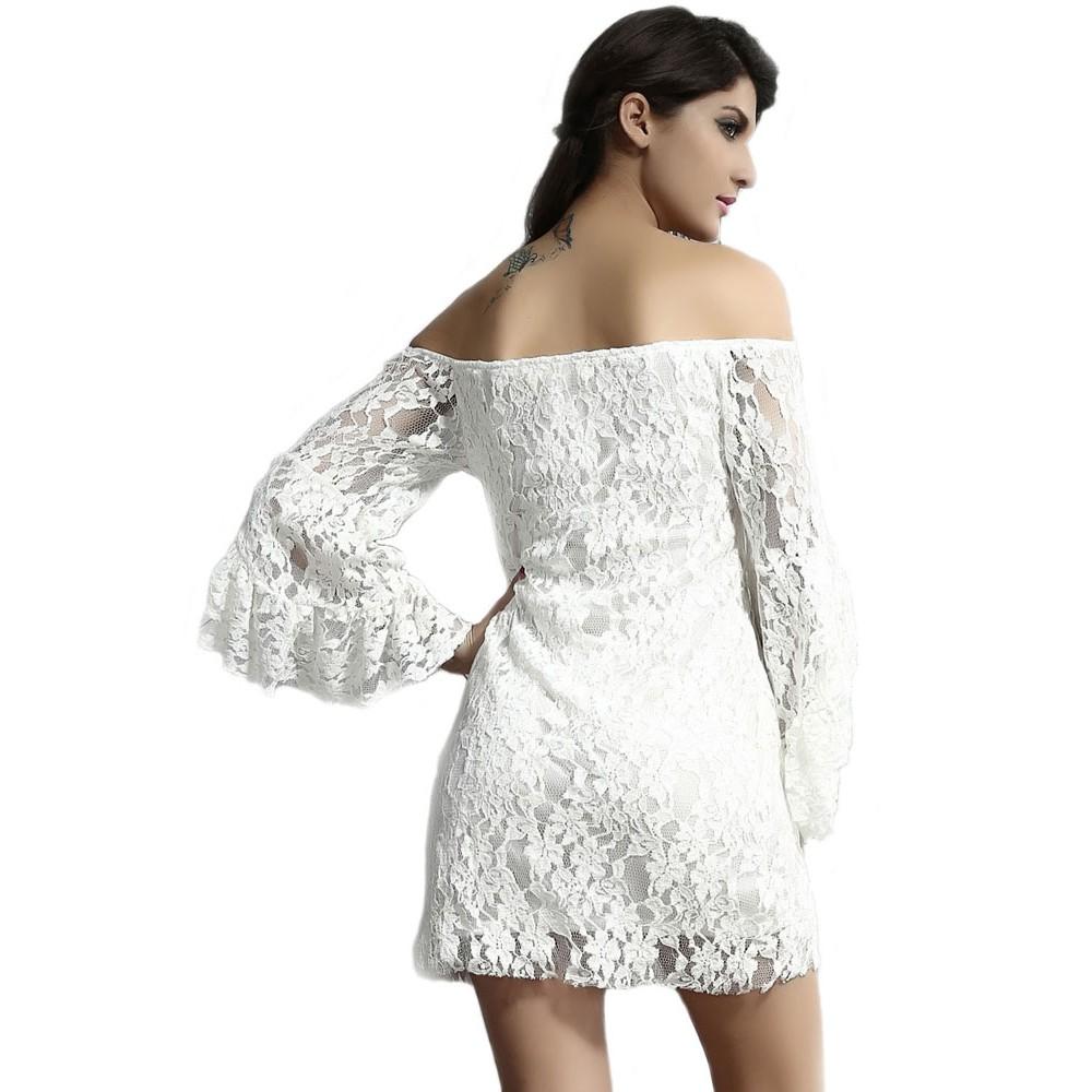 e27aeec6f1d4 White Cute Lace Style Off The Shoulder Mini Dress