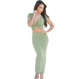 Olive Twist Crop Top Solid Green Maxi Skirt Set