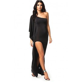 Slash Neck One Shoulder Draped Evening Dress Black