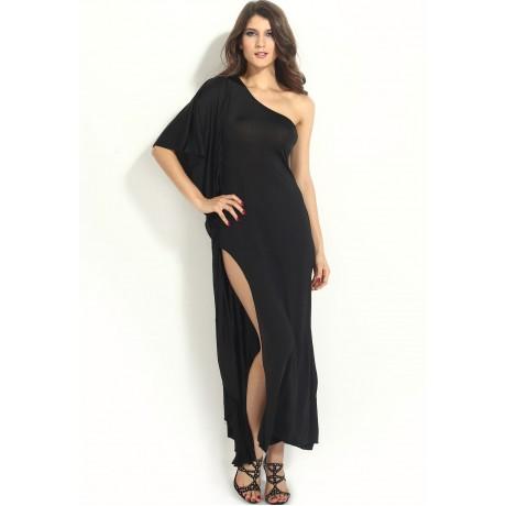 Black One Shoulder Draped Dress