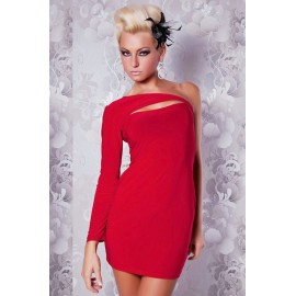 One Shoulder Decollete Mini Dress Red