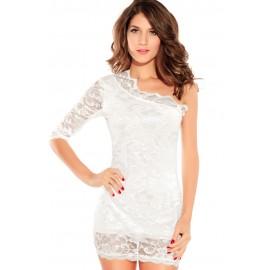 One Sleeve Mini Dress  White