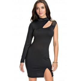 One Sleeved Little Black Club Mini Dress