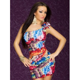 One Shoulder With Feather Print Mini Dress Red
