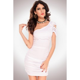 One Shoulder Pleated Ripped Sleeve Mini Dress White