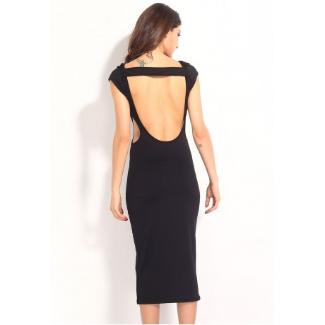 Side Cut Outs Midi Dress Black