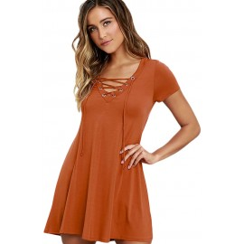 Orange Casual Lace-up Swing Skater Mini Dress Cover Up
