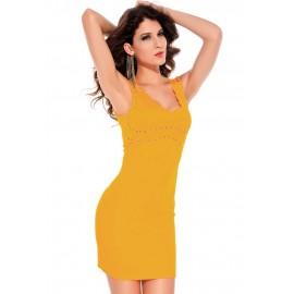 V-Neck Style Party Dress Orange