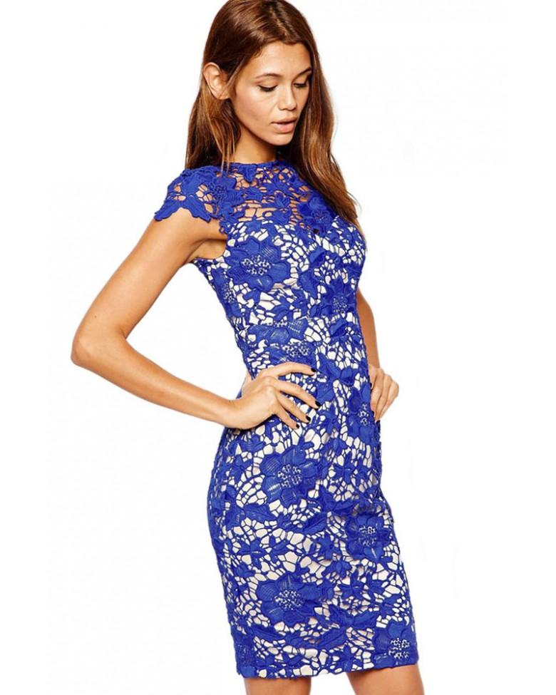Pencil Lace Blue Overlay Patchwork Midi Dress - photo #36