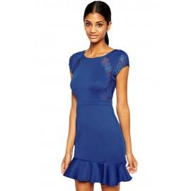 Blue Pep Hem Skater Mini Dress