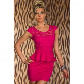 Cut-out Back Peplum Dress Roseo