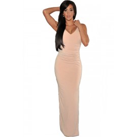 V-Neck Hollow Cut Out Back Evening Party Dress Pink