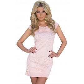 Pink Floral Lace Dolly Bow Mini Dress