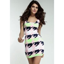 Bodycon Pink Paper Crane Print Mini Dress