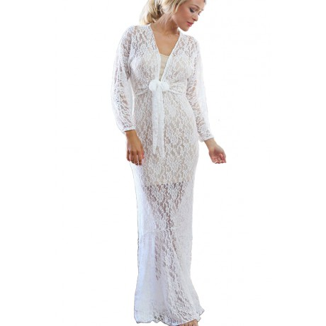 Front Tie White Lace Maxi Dress