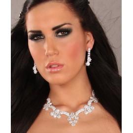 Flowers Rhinestone Necklace Earrings Set