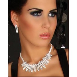 Rhinestone Necklace With Earrings Sets
