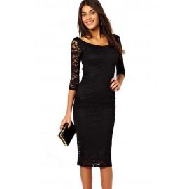 Black Lace Overlay Midi Dress