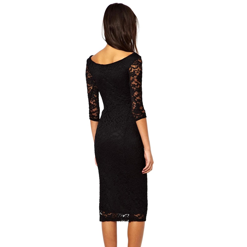Black Lace Overlay Midi Dress