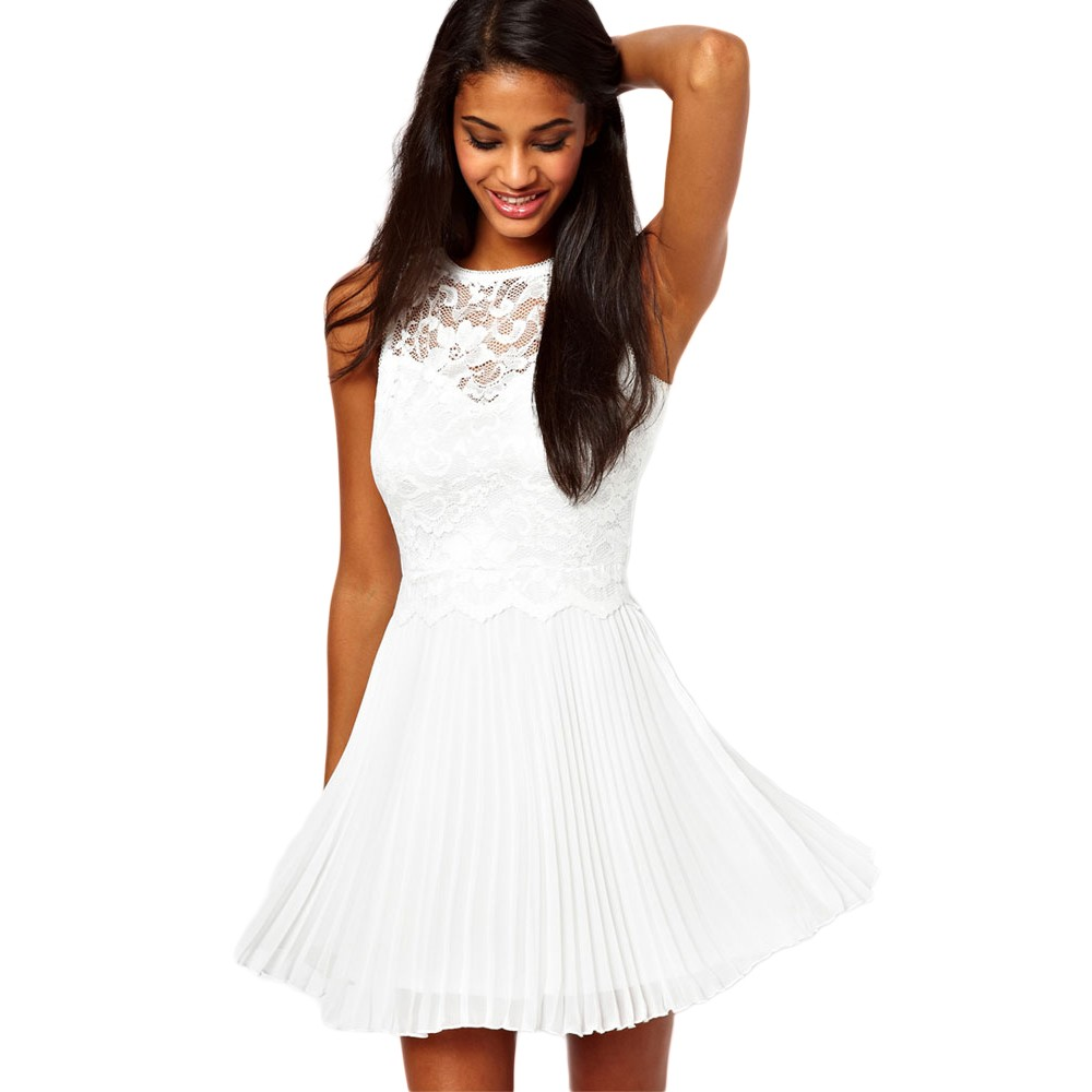 White Lace Pleated Skirt